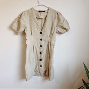 Zara Cream Linen Button-up Dress